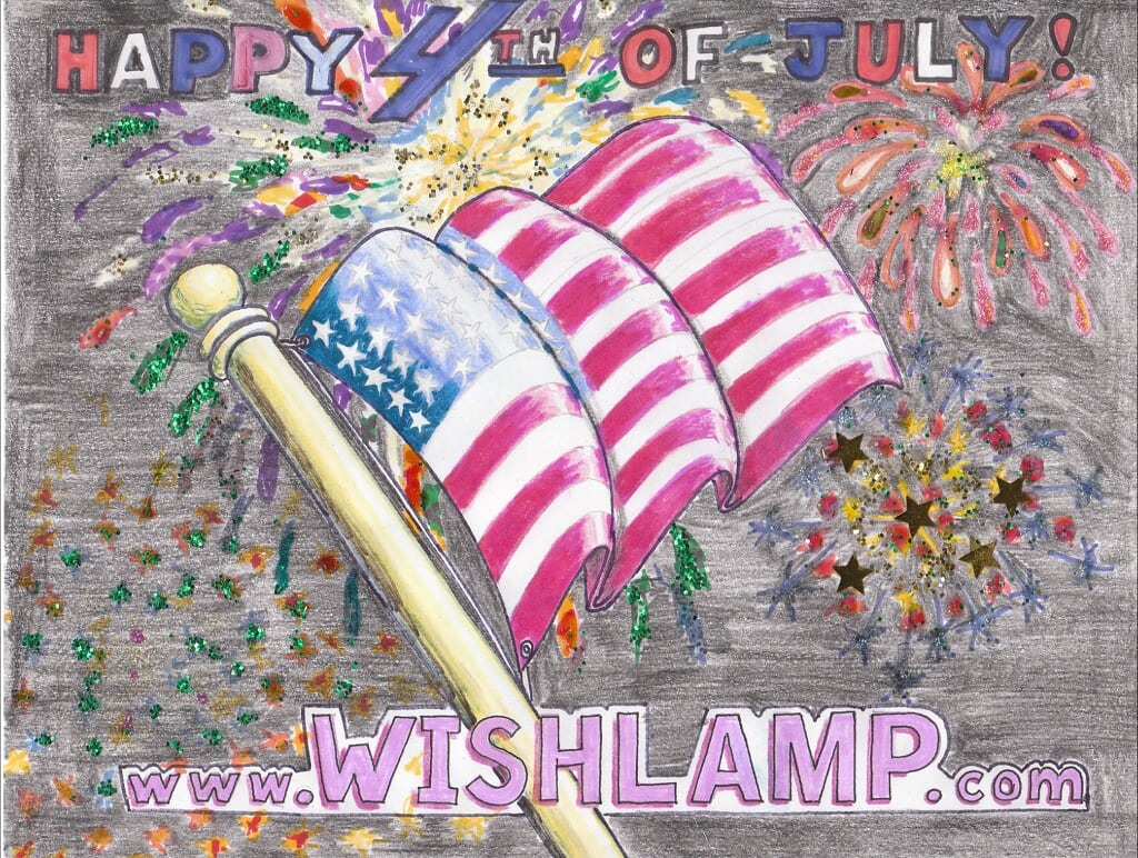 Happy 4th of July - U.S.A. Flag - WISHLAMP